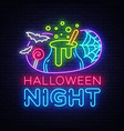 halloween neon sign halloween night design vector image vector image