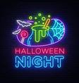 halloween neon sign night design vector image vector image