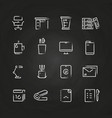 hand drawn office icons on chalkboard vector image