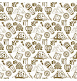 hand drawn seamless pattern with camping objects vector image