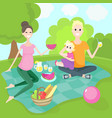 happy family on a picnic vector image