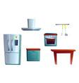 kitchen furniture cartoon interior creating set vector image