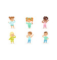 little boys and girls brushing their teeth vector image vector image