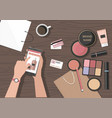 make up products on the table online beauty shop vector image