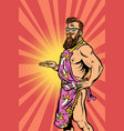 Naked male hipster waiter vector image