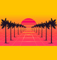 palm trees 1980s style vector image vector image