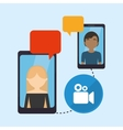 people smartphone sending message video conneted vector image vector image
