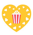 popcorn popping red yellow strip box heart shape vector image vector image