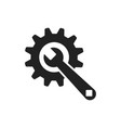 service tools flat icon cogwheel with wrench vector image vector image