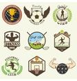 set vintage sports emblems vector image vector image