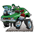 seventies green hot rod funny car cartoon vector image vector image