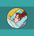 sick young woman lying in bed with thermometer vector image vector image