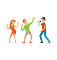 singer character and couple of dancers vector image vector image
