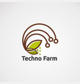 techno farm with drop water logo concept icon vector image vector image