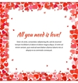 Template with many red hearts and text space vector image vector image