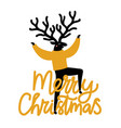 with dancing deer in sweater hand drawn yellow vector image