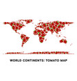 world continent map collage of tomato vector image vector image