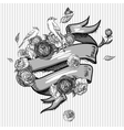 Monochrome Invitation Card Design with Flowers vector image