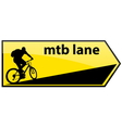 mtb cycle lane signboard vector image