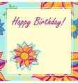 postcard with flowers Happy Birthday vector image