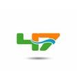 47 anniversary wave logo blue vector image vector image