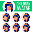 asian girl avatar set kid face emotions vector image vector image