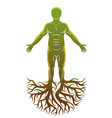 Athletic man made with tree roots celtic ancient