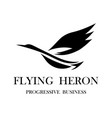 black logo a flying heron eps 10 vector image vector image