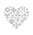 blockchain heart outline block chain icons vector image vector image