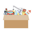 cardboard box with kids toys on a white background vector image vector image