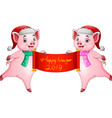 cartoon couples pig santa claus with chinese scrol vector image vector image