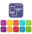connection phone icons set flat vector image vector image