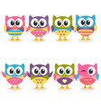 cute colorful cartoon owls collection on white vector image