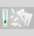 dental set toothpaste chewing gums white vector image
