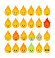 fire flame funny emoticons isolated set vector image