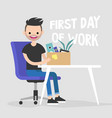 first day of work young character holding a box vector image vector image