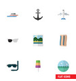 flat icon beach set of ship hook scuba diving vector image vector image