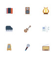 flat icons lyre radio rhythm motion and other vector image vector image