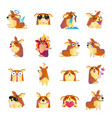 funny corgi dog cartoon icons set vector image vector image
