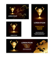 golden low poly champions league cup banners set vector image vector image