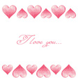 Hand drawn colorful Valentine hearts border vector image vector image