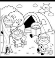 happy children playing in a forest camping site vector image vector image