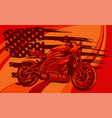motorbike with american flag vector image vector image