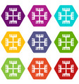pagan ancient symbol icons set 9 vector image
