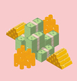 pile cash with gold ingots and coin vector image vector image
