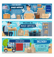 postal delivery service post office and postman vector image vector image