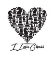 print with chess pieces of heart design i love vector image
