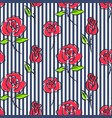 roses on blue striped seamless pattern vector image vector image