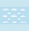 set cloud icons in paper art style vector image