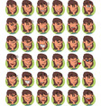 set of brown young girl emojis vector image